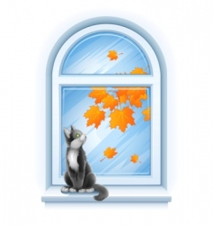 Kitten on windowsill vector