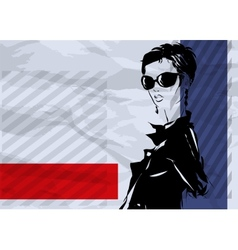 The girl with a short hairstyle and in an evening vector