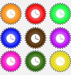 Mechanical clock icon sign a set of nine different vector