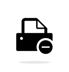 Printer with minus sign icon on white background vector