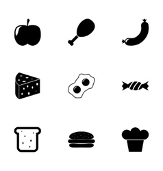 Black food icon set vector