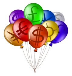 Balloons with currency signs vector