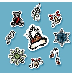Set of stickers with ornamental christmas things vector