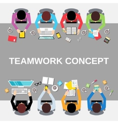 Teamwork people top view vector
