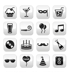 Party birthday new year christmas buttons set vector