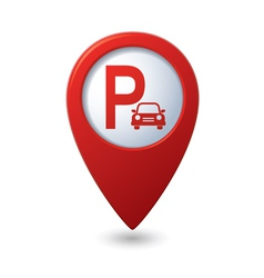 Parking icon red map pointer vector