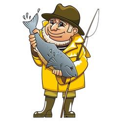 Fisherman cartoon vector
