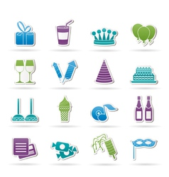 Birthday and party icons vector