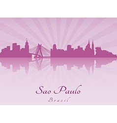 Sao paulo skyline in purple radiant orchid vector