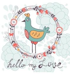 Hello my love card with cute funny bird vector
