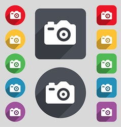 Photo camera icon sign a set of 12 colored buttons vector