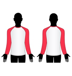 Man wear raglan sleeve t-shirt vector