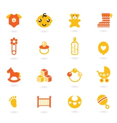 Orange icons collection for baby vector