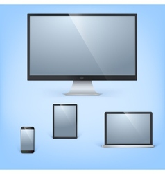 Realistic laptop tablet computer monitor and vector