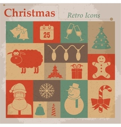 Christmas retro icons vector
