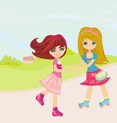 Cute little girls ride on rollers vector