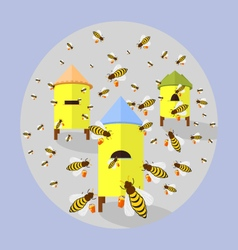 Bees and hives vector