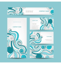 Set of business cards design with sea wave vector