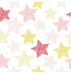 Sketch seamless pattern with stars red pink vector