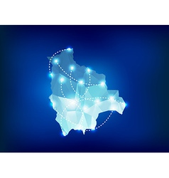 Bolivia country map polygonal with spot lights vector