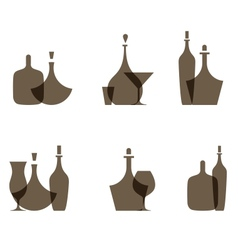 Glass bottle icons vector