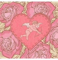 Heart with cupid and roses vector