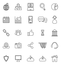 Seo line icons on white background vector