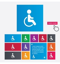 Disabled sign icon human on wheelchair symbol vector