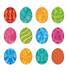 Decorative set of easter eggs vector