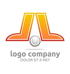 Logo letter l company foot ball circle symbol icon vector