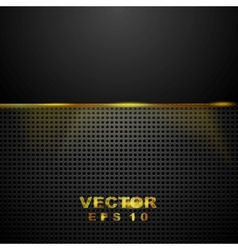 Dark tech perforated background with glowing light vector