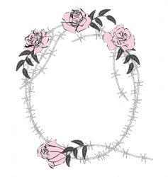 Roses and wire frame vector