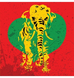 Retro elephant with heart vector