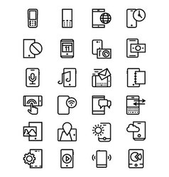 Mobile line icons 3 vector