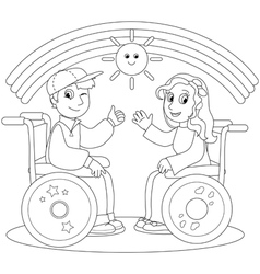 Happy teenagers on wheelchair vector