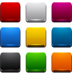 Square 3d color icons vector