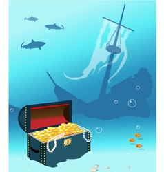 Ship wreck with treasure chest vector