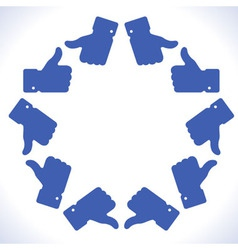 Blue star thumb up icons vector