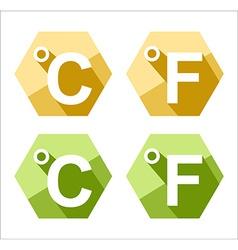 Flat design celsius and fahrenheit symbol icon set vector