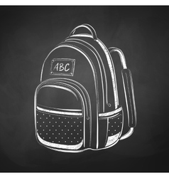 Chalkboard drawing of school bag vector