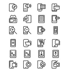 Mobile line icons 4 vector