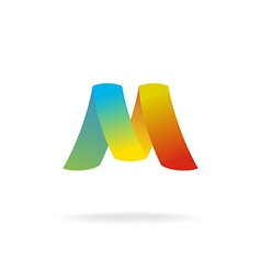 M letter logo template colorful elegant ribbons vector