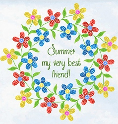 Summer colorful flowers painted in watercolor vector