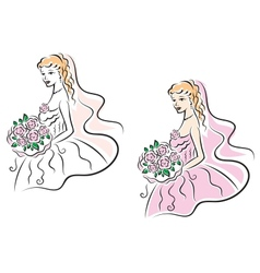 Young pretty bride on wedding ceremony vector