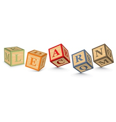 Word learn written with alphabet blocks vector