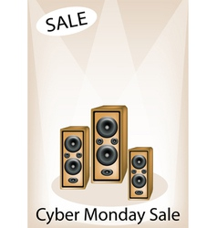 Audio speaker shouting word cyber monday sale vector
