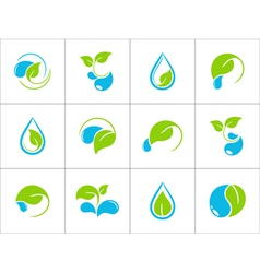 Water and leaves icons vector