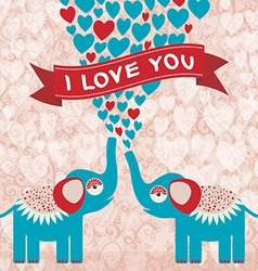Two cute enamored elephants in love valentines day vector