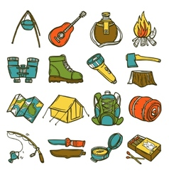 Camping icon set vector