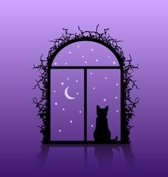 Cat in the window vector